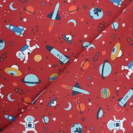 Tissu coton cretonne Buzz - rouge x 10cm