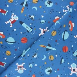 Cretonne cotton fabric - blue Buzz x 10cm