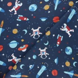 Tissu coton cretonne Space - bleu marine x 10cm