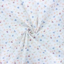 Stenzo poplin cotton fabric - white Hearty x 10cm