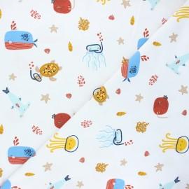 Tissu jersey Poppy Sea animals - blanc x 10cm