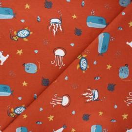 Tissu jersey Poppy Sea animals - rouille x 10cm