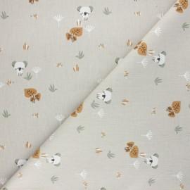 Tissu coton cretonne Timiko - grège x 10cm