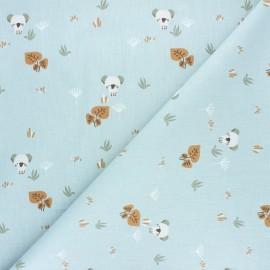 Tissu coton cretonne Timiko - bleu x 10cm