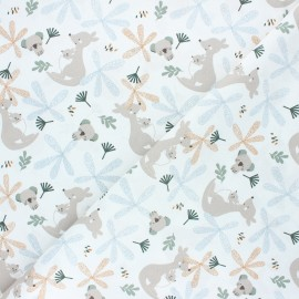 Tissu coton cretonne Lundo - blanc x 10cm