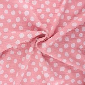 Tissu double gaze de coton Poppy Dots - eau de rose x 10cm