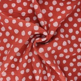 Tissu double gaze de coton Poppy Dots - rouille x 10cm
