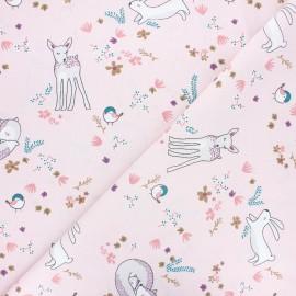 Tissu coton cretonne Tibois - rose x 10cm