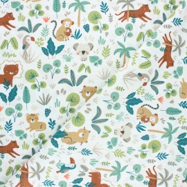 Tissu coton cretonne Tambo - blanc x 10cm