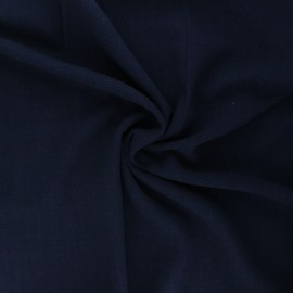 Plain linen and viscose fabric - night blue x 10 cm