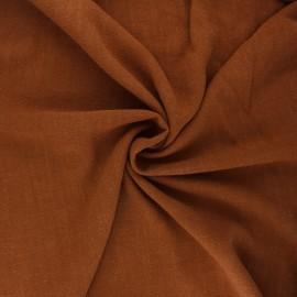 Plain linen and viscose fabric - camel x 10 cm