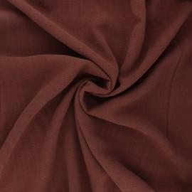 Plain linen and viscose fabric - mahogany x 10 cm