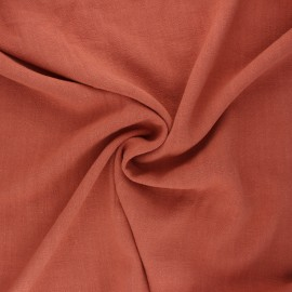 Plain linen and viscose fabric - terracotta x 10 cm
