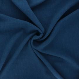 Plain linen and viscose fabric - duck blue x 10 cm