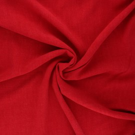 Plain linen and viscose fabric - red x 10 cm