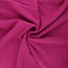 Plain linen and viscose fabric - purple x 10 cm