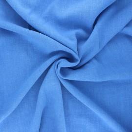 Plain linen and viscose fabric - blue x 10 cm
