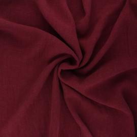 Plain linen and viscose fabric - burgundy x 10 cm