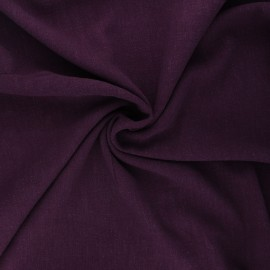 Plain linen and viscose fabric - dark purple x 10 cm