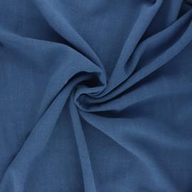 Plain linen and viscose fabric - swell blue x 10 cm