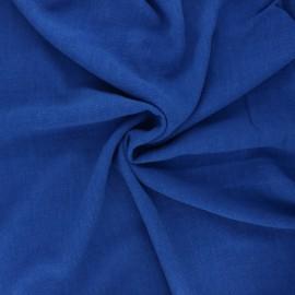 Plain linen and viscose fabric - royal blue x 10 cm