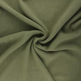 Plain linen and viscose fabric - khaki green x 10 cm