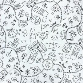 Tissu coton à colorier Route - noir/blanc x 10cm