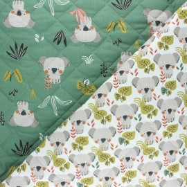 Quilted cotton fabric - green Kokoli /Kowali x 10cm