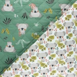 Tissu matelassé réversible Kokoli /Kowali - vert x 10cm