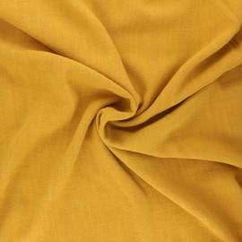 Plain linen and viscose fabric - mustard yellow x 10 cm