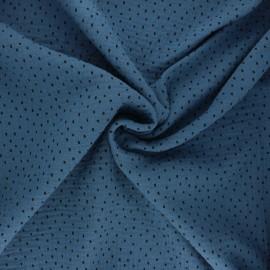 Tissu double gaze de coton Poppy Shapes B - bleu houle x 10cm