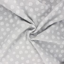Tissu double gaze de coton Poppy Dots - gris clair x 10cm