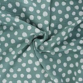 Tissu double gaze de coton Poppy Dots - eucalyptus x 10cm