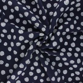 Tissu double gaze de coton Poppy Dots - bleu nuit x 10cm