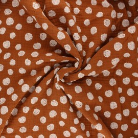 Tissu double gaze de coton Poppy Dots - camel x 10cm