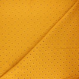 Embroidered double gauze fabric - mustard yellow Semilia x 10cm