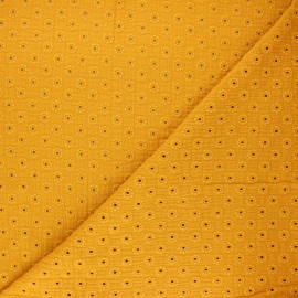 Tissu double gaze de coton brodé Semilia - jaune moutarde x 10cm