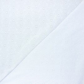 Embroidered double gauze fabric - white Agatha x 10cm