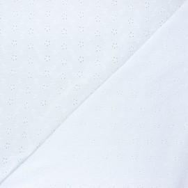 Tissu double gaze de coton brodé Agatha - blanc x 10cm