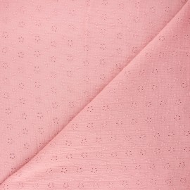 Embroidered double gauze fabric - light pink Agatha x 10cm