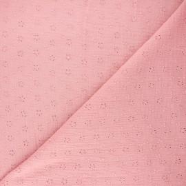 Tissu double gaze de coton brodé Agatha - rose clair x 10cm