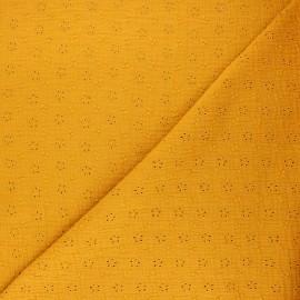 Tissu double gaze de coton brodé Agatha - jaune moutarde x 10cm