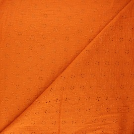 Embroidered double gauze fabric - orange Agatha x 10cm