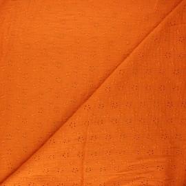 Tissu double gaze de coton brodé Agatha - orange x 10cm