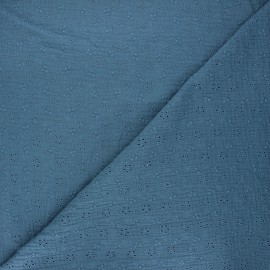 Embroidered double gauze fabric - swell blue Agatha x 10cm