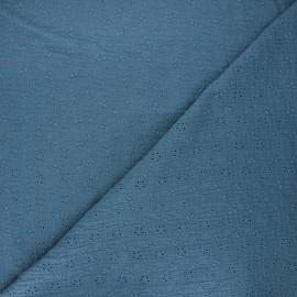 Tissu double gaze de coton brodé Agatha - bleu houle x 10cm