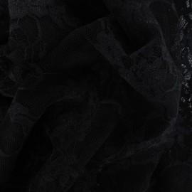 ♥ Coupon 30 cm X 150 cm ♥  Tissu Dentelle Fleurie noire