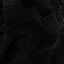 Tissu Dentelle Fleurie noire x 10cm