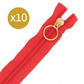 Pack of 10 non-separating zips 6 mm - 20 cm - red