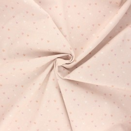 Tissu popeline de coton Mi corazon - rose clair x 10cm